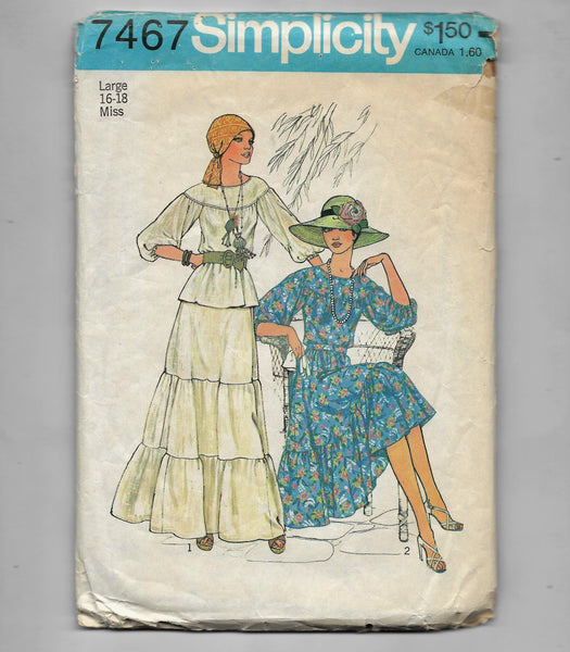 Large 16-18, Vintage 1970s Two-Piece Ruffle Dresses Sewing Pattern