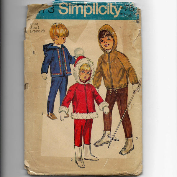 Sz 1, Vintage 60s Toddler's Hooded Jacket Overpants Sewing Pattern Simplicity 8473