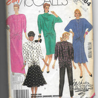 80s Vintage Dolman Sleeves Tops Pants Skirts Sewing Pattern Easy McCalls 2884, Size 16-18, Uncut