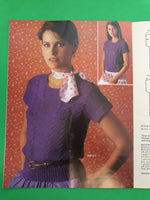 6 Short Sleeves Sweater Tops - Vintage 80s Knitting Pattern - Bernat Sophisticates in Cassino Saluki, Book 273