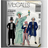 Adult Med. 36-38, Vintage 80s Costumes Sewing Pattern McCalls 3813, Liberty, Lincoln, Washington, Uncle Sam