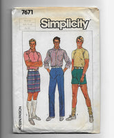 Vintage 80s Men's Free Fit Pants and Shorts, Waist 30, Simplicity 7671 Sewing Pattern, Uncut