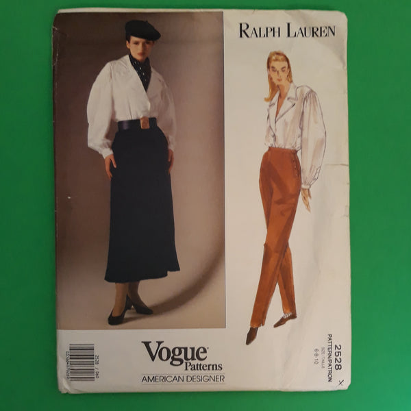 90s Ralph Lauren Vogue American Designer 2528 Miss Blouse Skirt Pants Sewing Pattern Size 6-8-10 Uncut