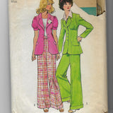 Miss Junior Petites Size 10 - Women Vintage 1970s Jackets Pants Sewing Pattern Simplicity 5642