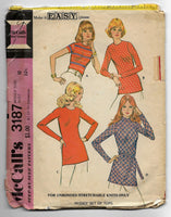 Size 10 Make it Easy Vintage 70s Women Tops Sewing Pattern McCalls 3187
