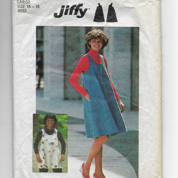 Size 16-18 Large - 1970s Vintage Jiffy Women Jumper or Top Sewing Pattern Simplicity 7127