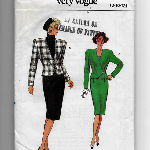 Size 8-12 Vintage 80s Vogue 9658 Jacket Skirt Sewing Pattern / Uncut