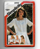 Size 14 Vintage 80s Women's Decorative Lace Tops Simplicity 5995 Sewing Pattern