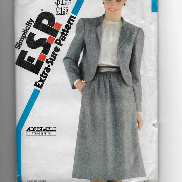 Size 12-16 Petite-able Women Vintage 80s Jacket Skirt Simplicity 5693 ESP Sewing Pattern Uncut