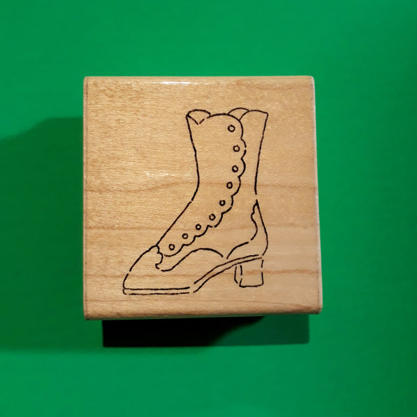 Vintage Boot, Wood Mounted Rubber Stamp, DOTS Vintage Retired 1990s