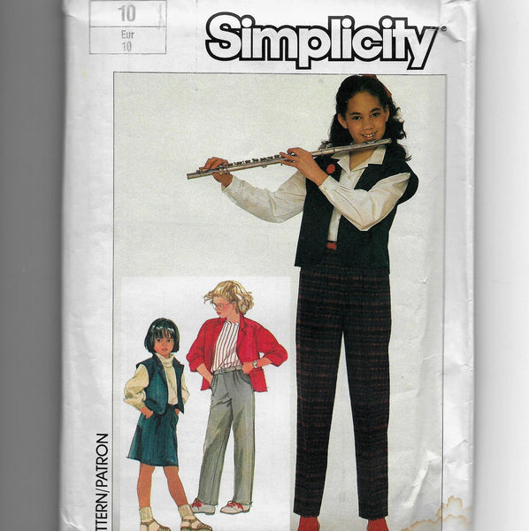 Size 10 Girls 80s Pull-on Pants Skirt Jacket Vest Simplicity 7056 Sewing Pattern Uncut
