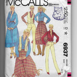 Size 10, Vintage 80s Western Wear Women's Vest, Shirt, Skirt and Pants, McCalls 6937 Sewing Pattern, Uncut