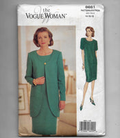 Sizes 14, 16, 18 - 1990s Vintage Vogue Woman 8661 Loose-fitting Dress and Jacket Sewing Pattern, Uncut