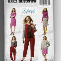 Size 16-24 Women Jacket Dress Skirt Pants Butterick B5821 Sewing Pattern / Uncut