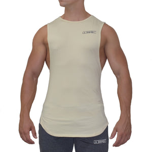 CURVED CUT OFF TANK - BEIGE - Ultimate Perfection