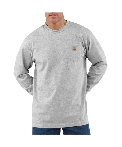 Carhartt Long Sleeve Workwear Pocket T-Shirt - Heather Grey (K126HGY)
