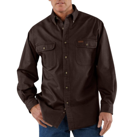 Carhartt Sandstone Twill Shirt - Dark Brown (S09DKB)