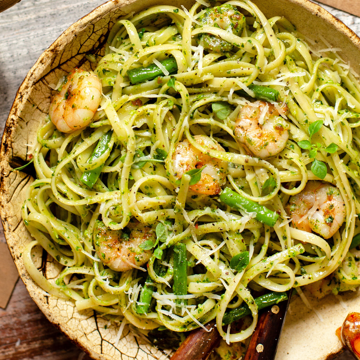 Garlic Shrimp Scampi with Whipped Pea Ricotta