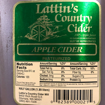 Lattin's Apple Cider 1/2 Gallon