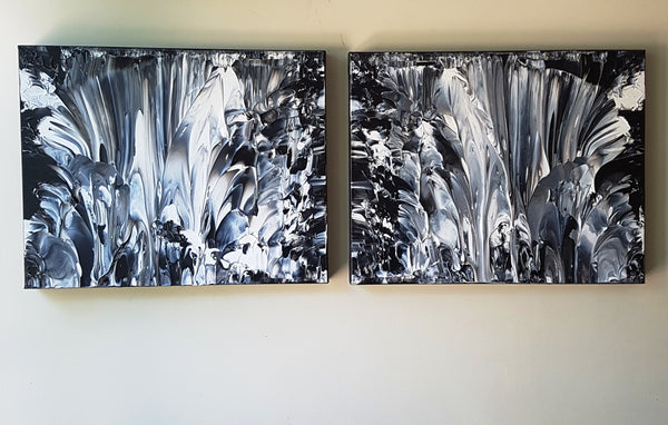 Art Deco in Black and White Canvas Painting Set
