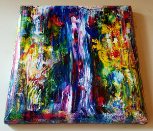 Abstract Waterfall Gallery Canvas with Curved Sides