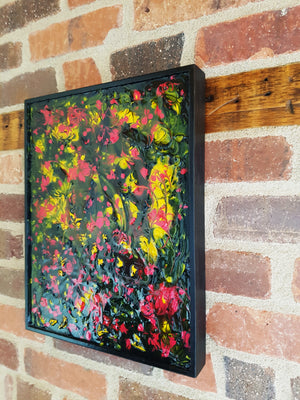 Glass Mystery Garden Acrylic Painting on Wood Framed Panel