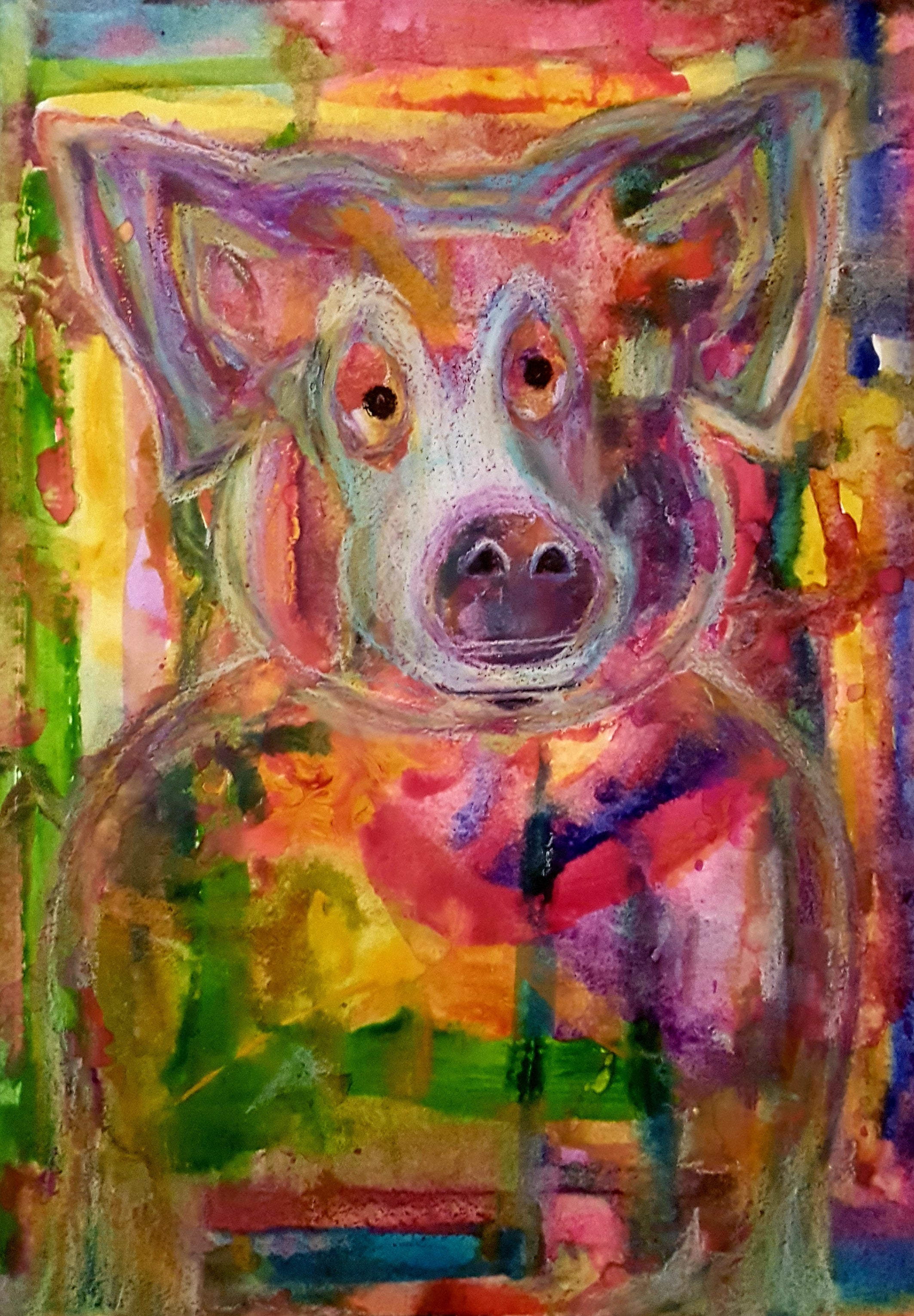 Sold - Pig in Pastel and Watercolor