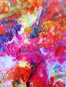 Garden Shine Abstract Original Painting by Ryan O'Neill in White Mat