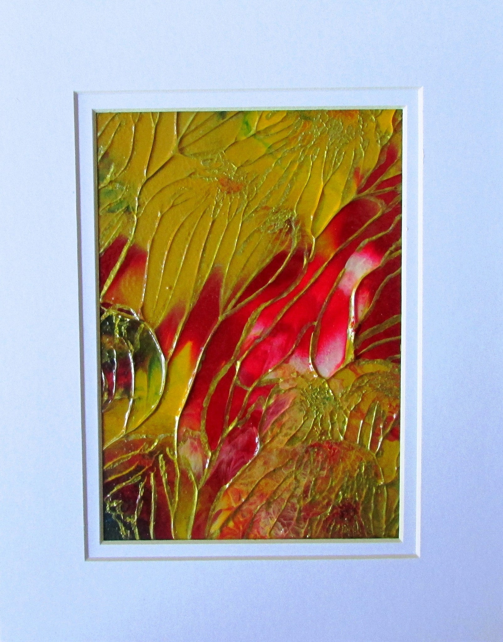 Red Golden Bouquet Original Abstract Painting