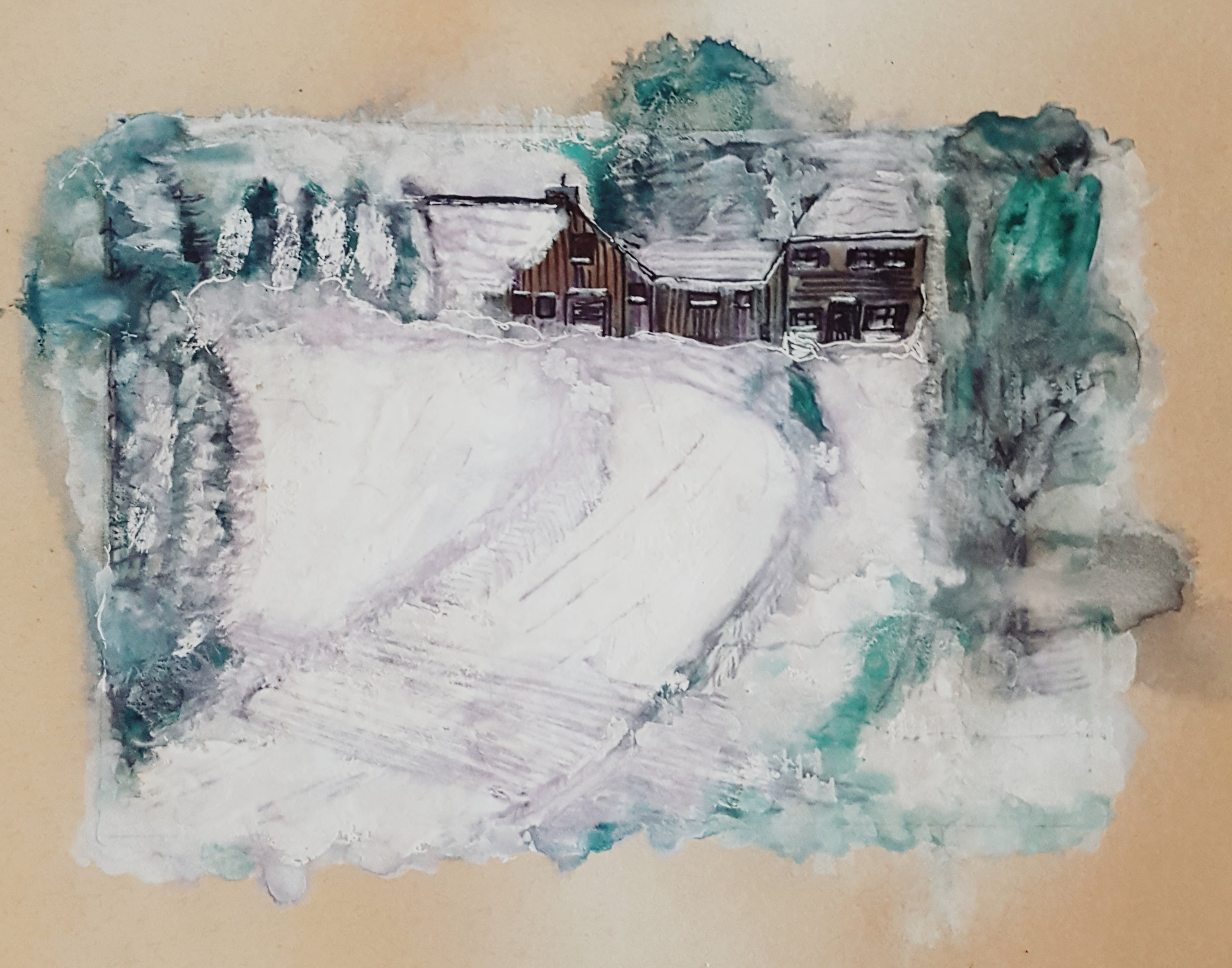 A Country Winter Watercolor Abstract Painting