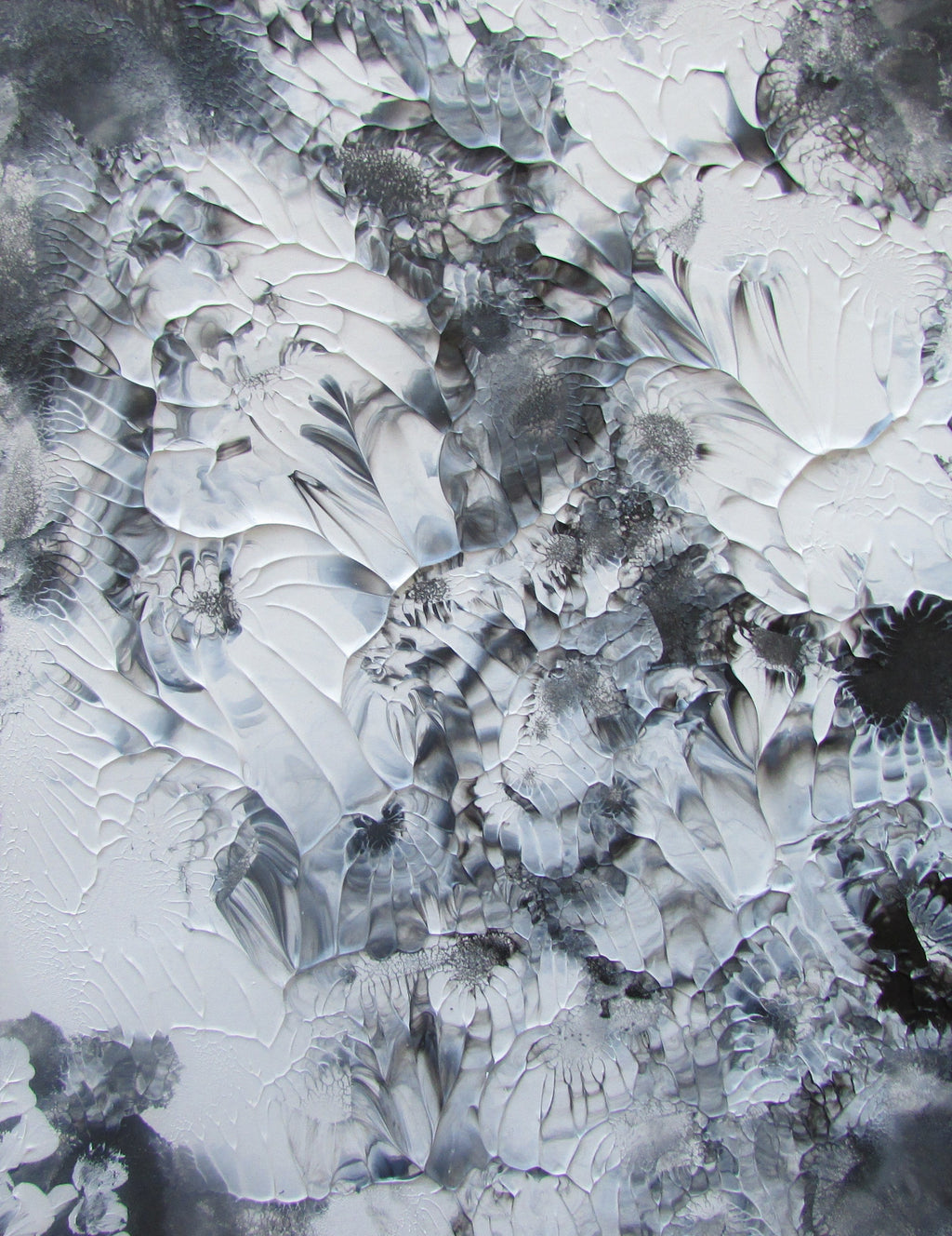 White Grey Black Acrylic Abstract Original Painting