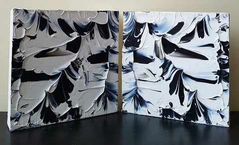 2 Piece Black and White Acrylic Abstract Canvas Paintings