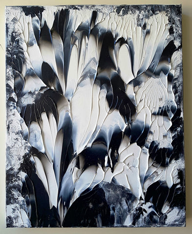 Black and White Abstract Acrylic Gallery Canvas Painting
