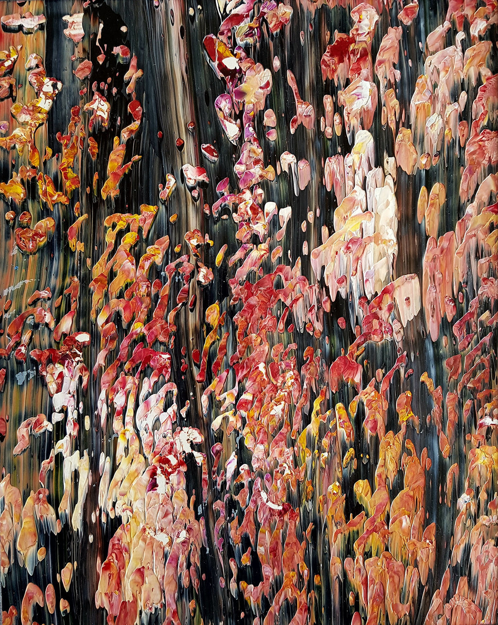 Wall Art Original Autumn Acrylic Painting in White Mat