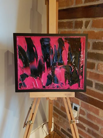 Pink and Black Abstract Framed Panel Painting