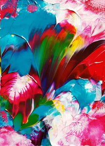 Floral Celebration Acrylic Abstract Painting.