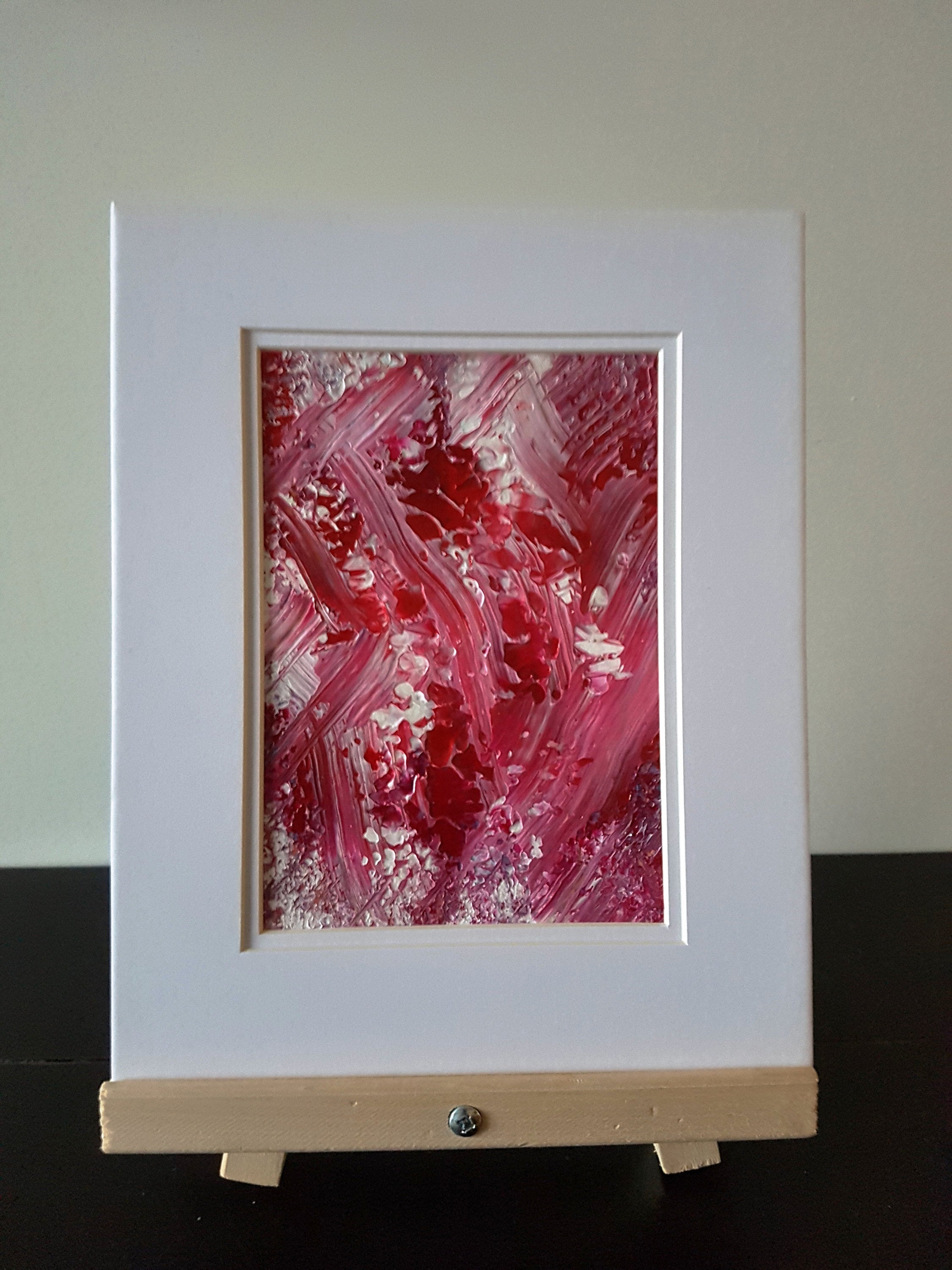 Pink and Red Abstract Acrylic Painting