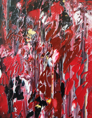 Red Sky Night Acrylic Abstract Original Painting