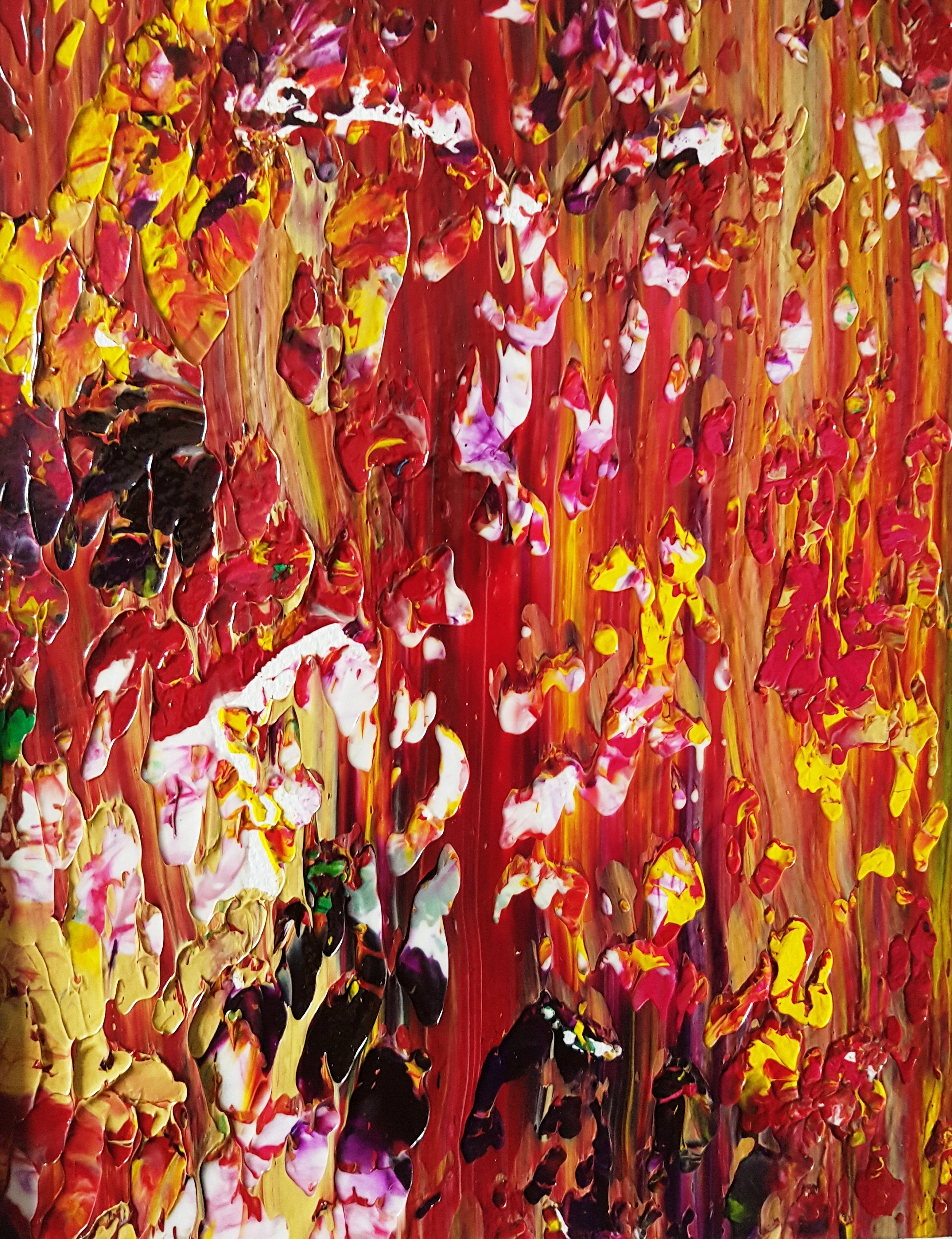 Fall Garden View Abstract Acrylic Painting