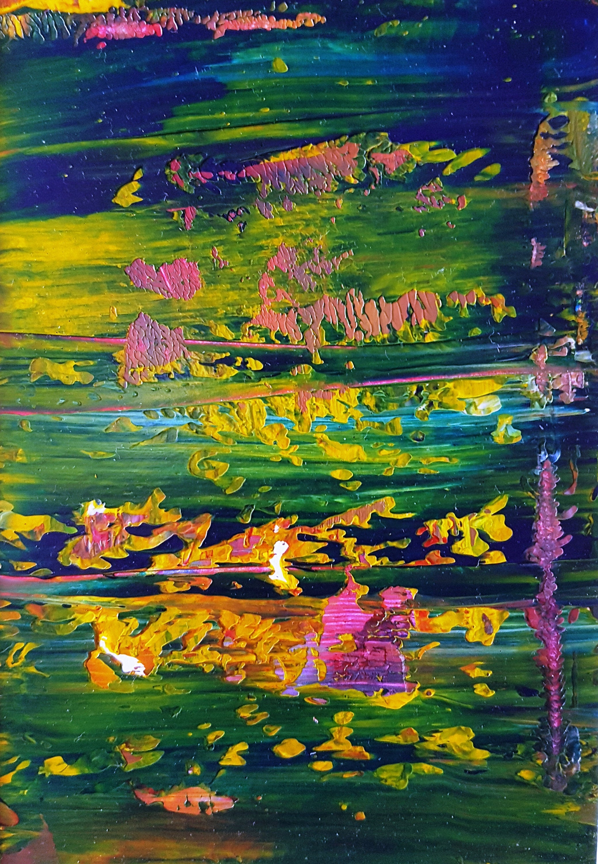 The Pond at Night Abstract Acrylic Painting