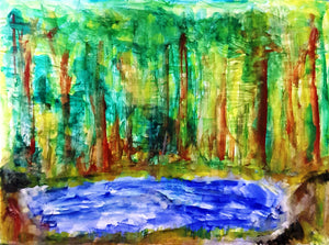 Forest Pond Abstract Watercolor