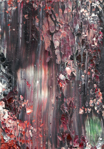 Original Acrylic Abstract Dark Forest Painting Fine Art in White Mat.