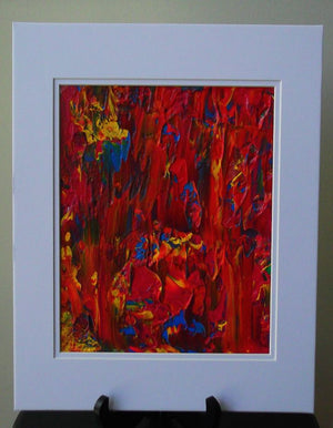 Wall Art Original Abstract FIRE Acrylic Painting in White Mat