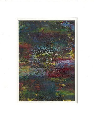 Original Acrylic Abstract POND Painting Fine Art in White Mat.