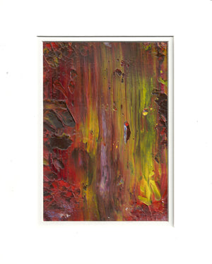 Original Acrylic ABSTRACT IN FALL Painting Fine Art in White Mat.