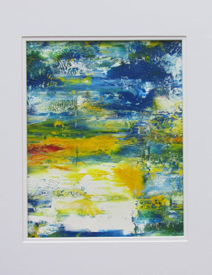 Reflections Original Fine Art Abstract Acrylic Painting in White Mat