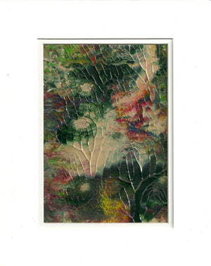 Original Acrylic Abstract Tree in the Garden Painting Fine Art in White Mat