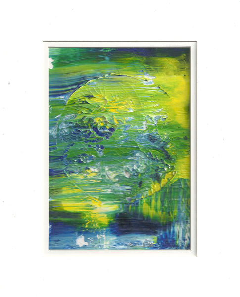 Original Acrylic Abstract Moonlit Painting Fine Art in White Mat