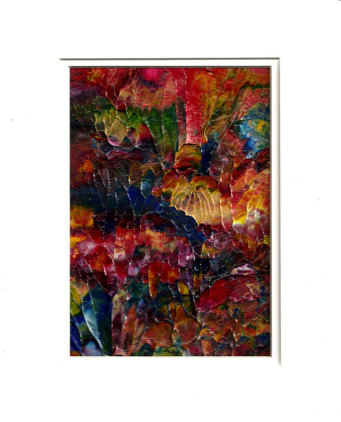 Celebration Acrylic Abstract Painting Fine Art in White Mat