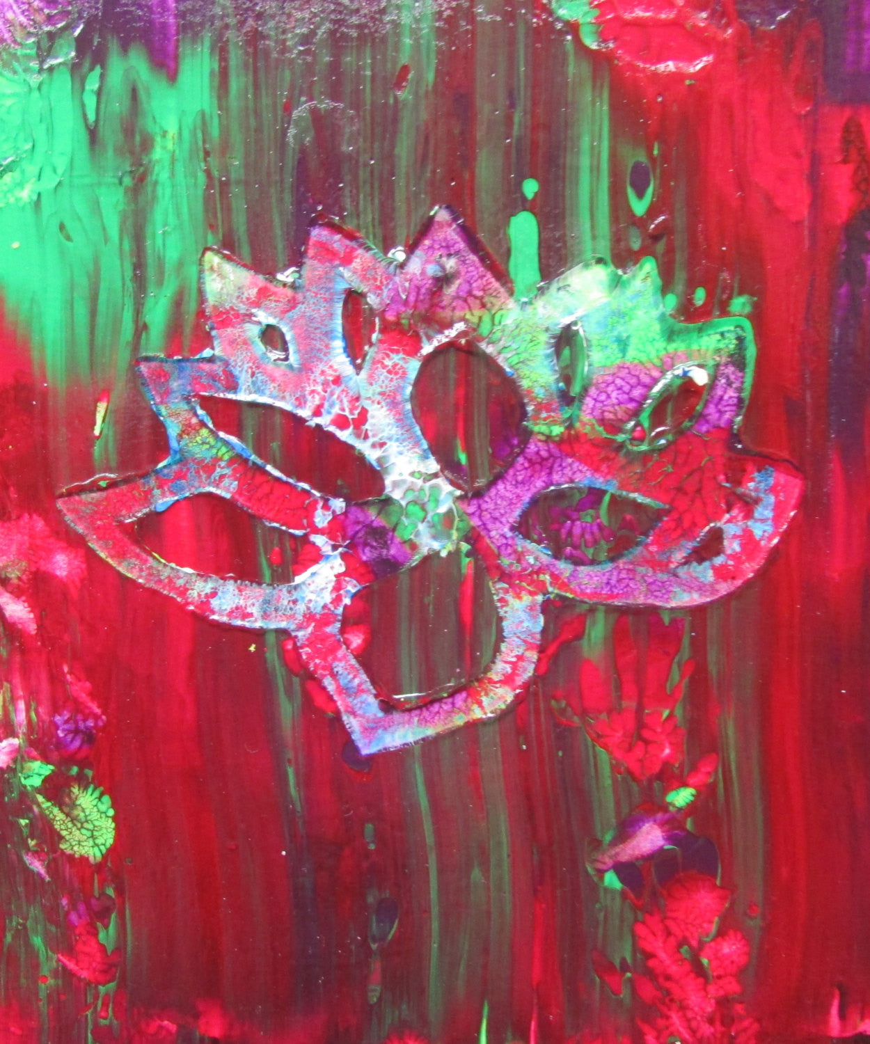 Red Lotus Flower Original Abstract Acrylic Painting